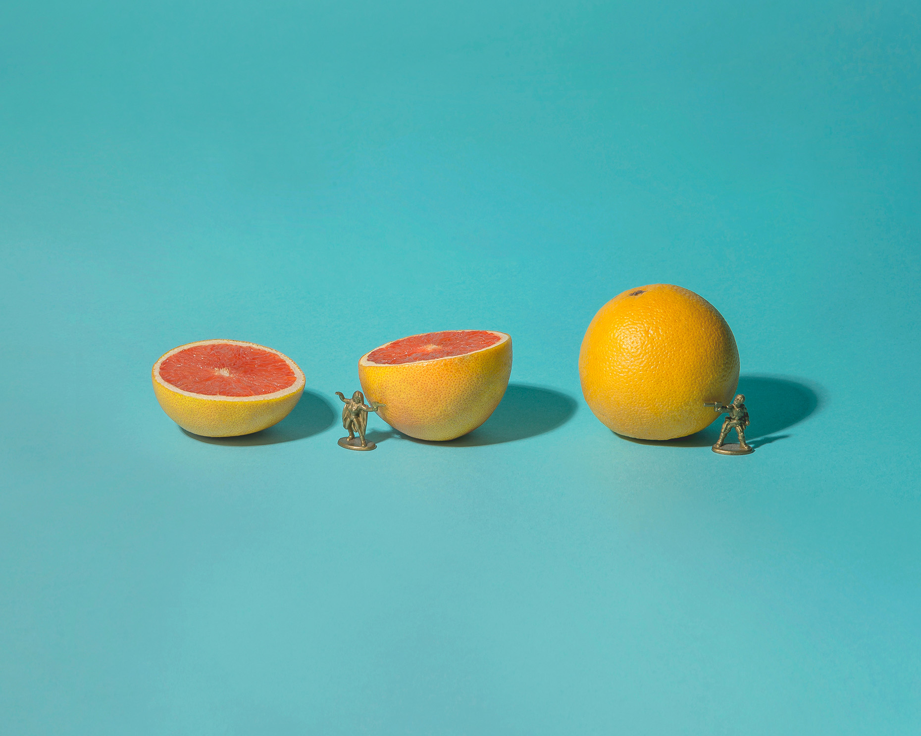 Grapefruit Battle Still Life